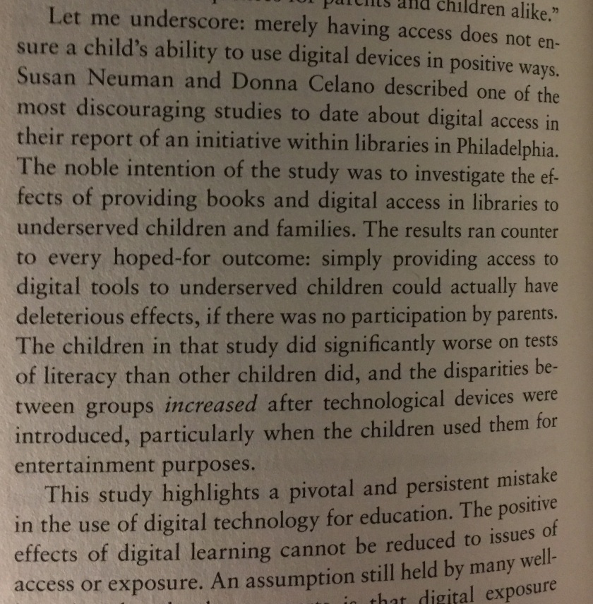 "Passage about the dangers of digital access without guidance on how to use it well, from ""Reader, Come Home"" by Maryanne Wolf."